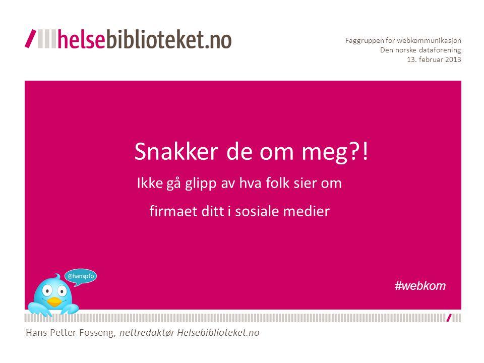 Snakker de om meg?! Ikke gå glipp av hva folk sier om firmaet ditt i sosiale medier Faggruppen for webkommunikasjon Den norske dataforening 13. februa