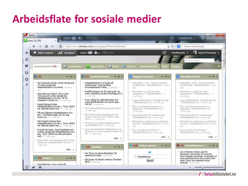 Lær mer  Hvordan sette opp RSS-strømmer fra Twitter-søk: http://sociable.co/social-media/twitter-removes-all-search-rss-links-from- its-site-now-users-must-resort-to-hacks-to-get-feeds/ http://sociable.co/social-media/twitter-removes-all-search-rss-links-from- its-site-now-users-must-resort-to-hacks-to-get-feeds/  Sosiale medier-statistikk for Norge.