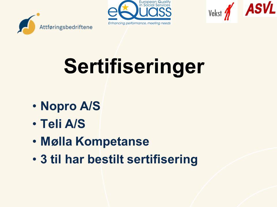 Sertifiseringer Nopro A/S Teli A/S Mølla Kompetanse 3 til har bestilt sertifisering