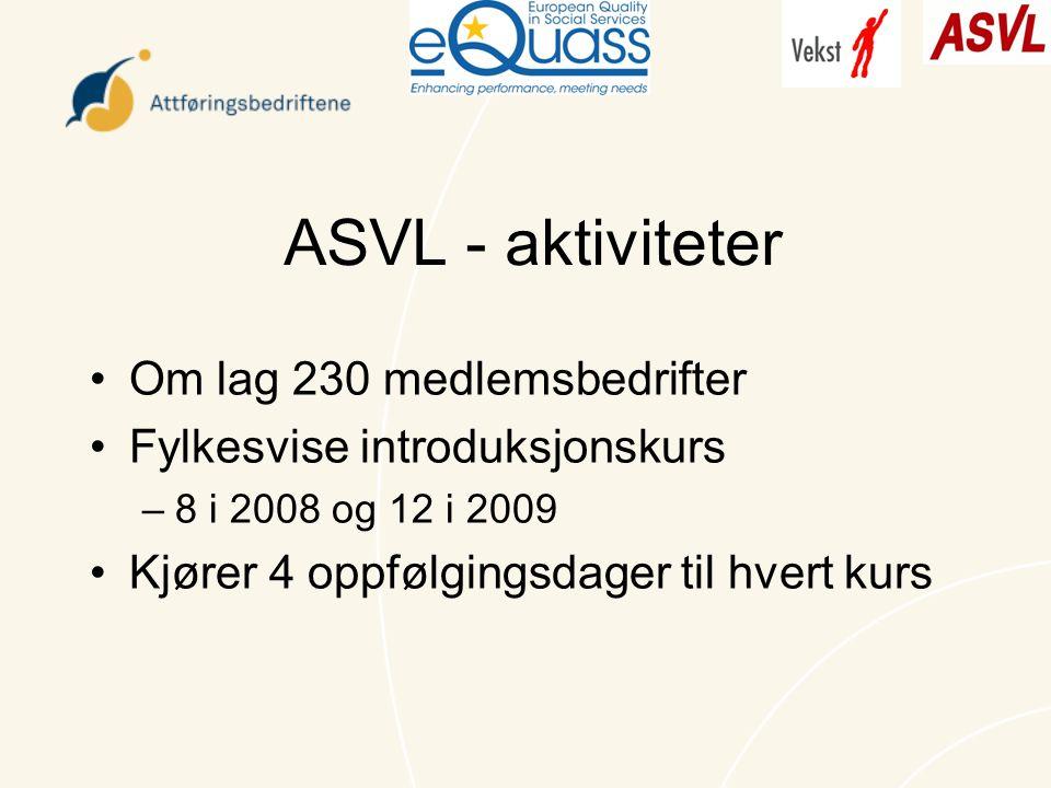 ASVL - aktiviteter Om lag 230 medlemsbedrifter Fylkesvise introduksjonskurs –8 i 2008 og 12 i 2009 Kjører 4 oppfølgingsdager til hvert kurs