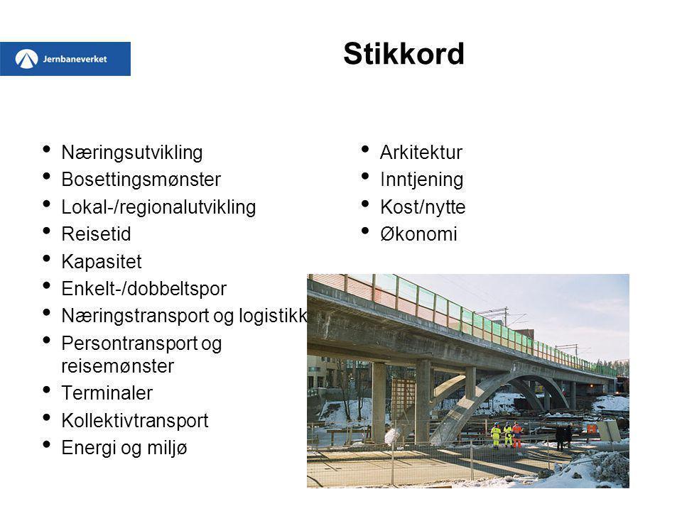 Stikkord Næringsutvikling Bosettingsmønster Lokal-/regionalutvikling Reisetid Kapasitet Enkelt-/dobbeltspor Næringstransport og logistikk Persontransp