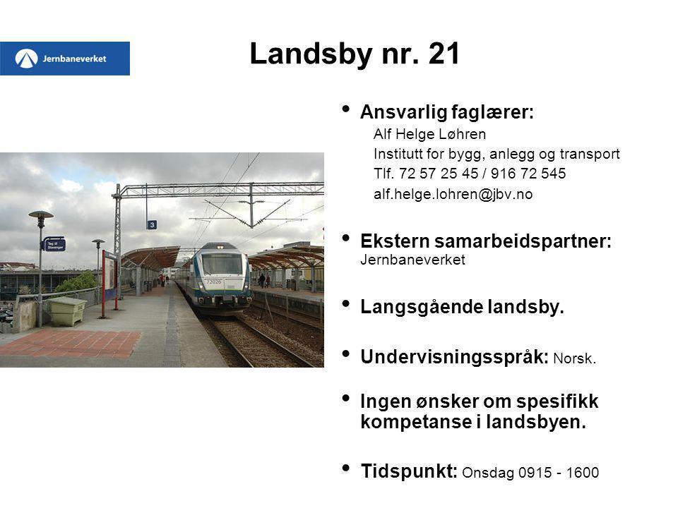 Landsby nr. 21 Ansvarlig faglærer: Alf Helge Løhren Institutt for bygg, anlegg og transport Tlf. 72 57 25 45 / 916 72 545 alf.helge.lohren@jbv.no Ekst