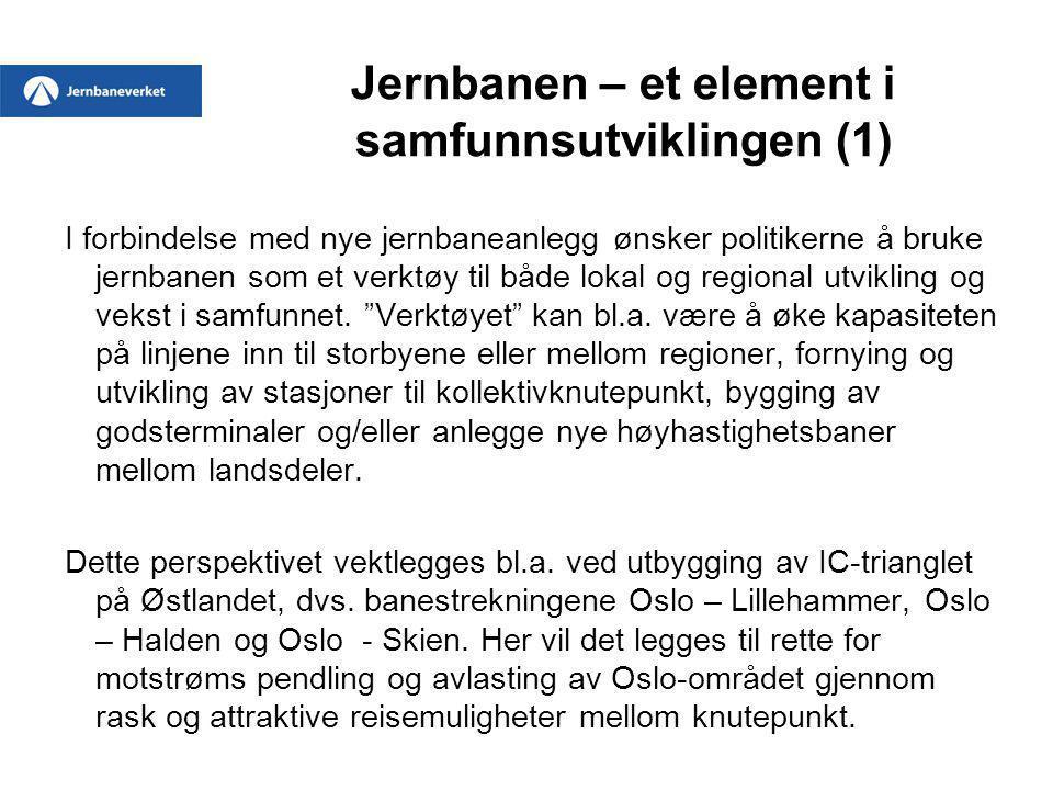 Jernbanen – et element i samfunnsutviklingen (2) Som andre eksempler kan nevnes utbygging av dobbeltspor på Jærbanen mellom Stavanger og Sandnes og videre i retning Egersund, økt kapasitet på Trønderbanen mellom Trondheim og Innherred og utvikling av lokaltrafikk med Saltdalspendelen mellom Bodø og Rognan.