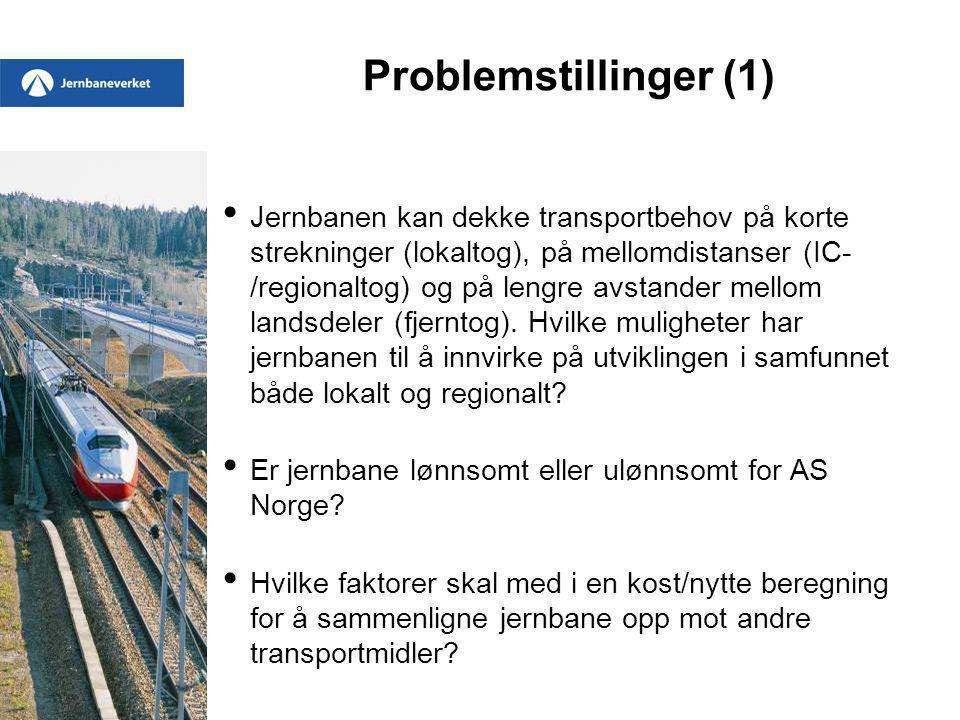 Problemstillinger (1) Jernbanen kan dekke transportbehov på korte strekninger (lokaltog), på mellomdistanser (IC- /regionaltog) og på lengre avstander mellom landsdeler (fjerntog).