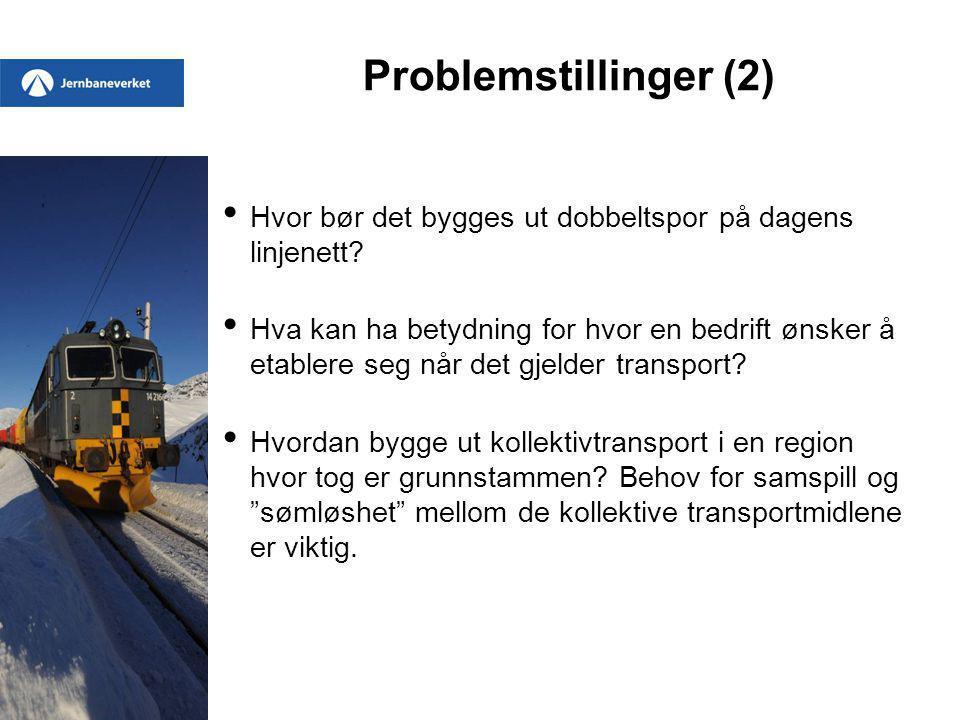 Problemstillinger (2) Hvor bør det bygges ut dobbeltspor på dagens linjenett? Hva kan ha betydning for hvor en bedrift ønsker å etablere seg når det g