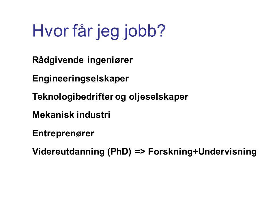 Hvor får jeg jobb? Rådgivende ingeniører Engineeringselskaper Teknologibedrifter og oljeselskaper Mekanisk industri Entreprenører Videreutdanning (PhD