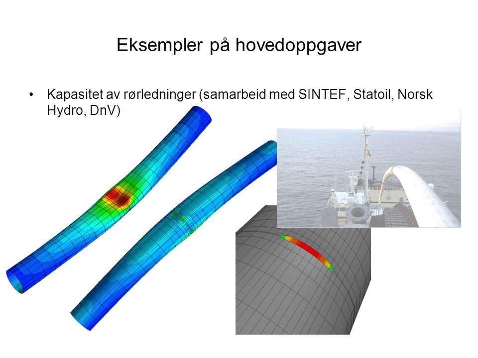 Eksempler på hovedoppgaver Kapasitet av rørledninger (samarbeid med SINTEF, Statoil, Norsk Hydro, DnV)