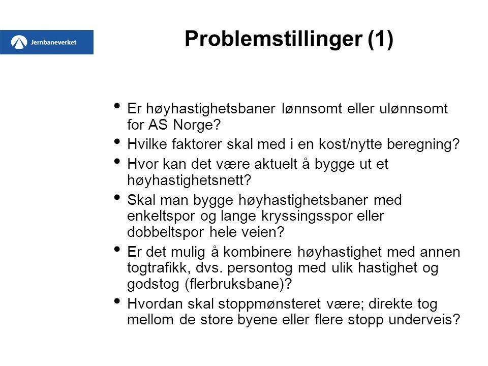 Problemstillinger (1) Er høyhastighetsbaner lønnsomt eller ulønnsomt for AS Norge? Hvilke faktorer skal med i en kost/nytte beregning? Hvor kan det væ
