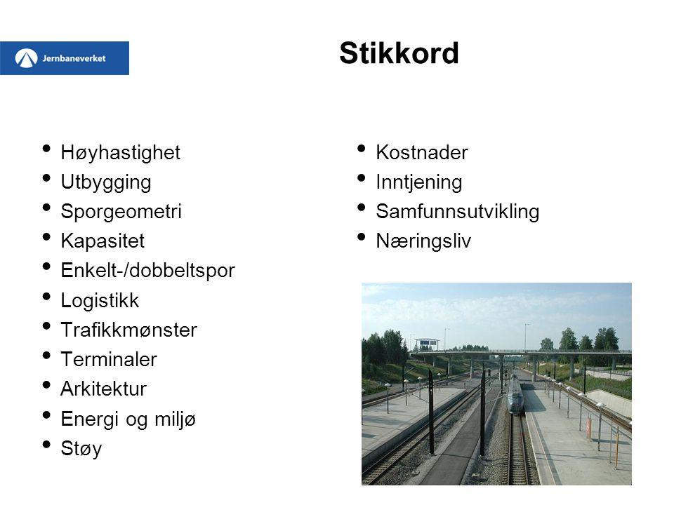 Stikkord Høyhastighet Utbygging Sporgeometri Kapasitet Enkelt-/dobbeltspor Logistikk Trafikkmønster Terminaler Arkitektur Energi og miljø Støy Kostnad