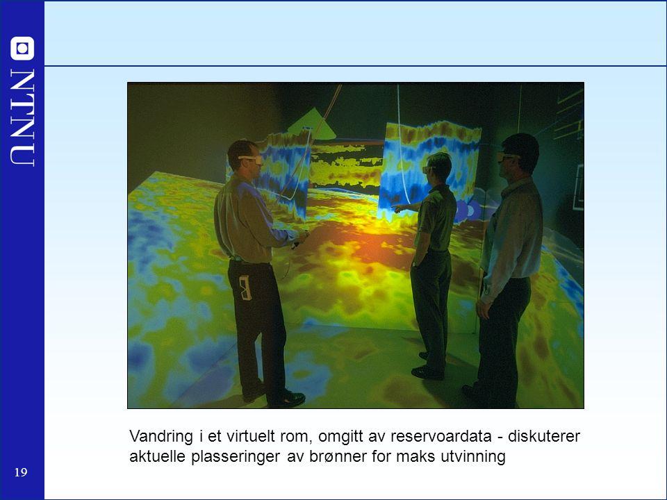 19 Vandring i et virtuelt rom, omgitt av reservoardata - diskuterer aktuelle plasseringer av brønner for maks utvinning