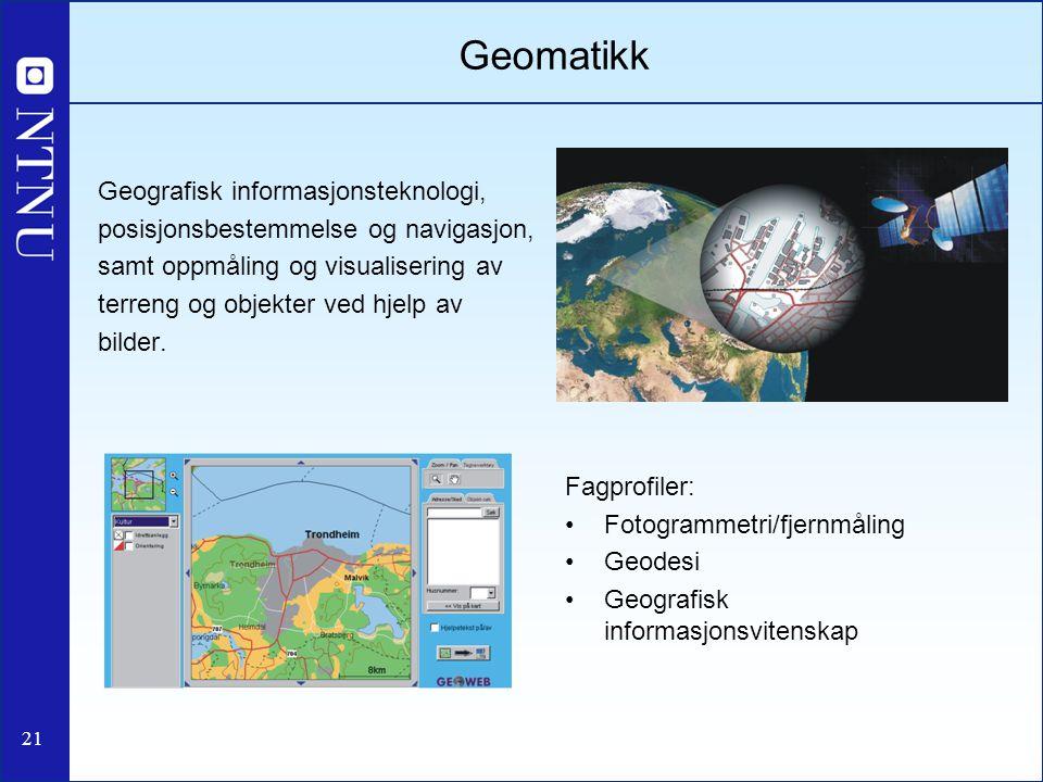21 Geomatikk Geografisk informasjonsteknologi, posisjonsbestemmelse og navigasjon, samt oppmåling og visualisering av terreng og objekter ved hjelp av