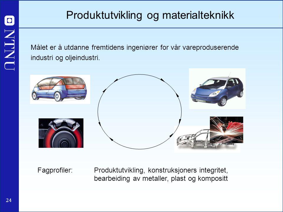 24 Produktutvikling og materialteknikk Målet er å utdanne fremtidens ingeniører for vår vareproduserende industri og oljeindustri. Fagprofiler: Produk