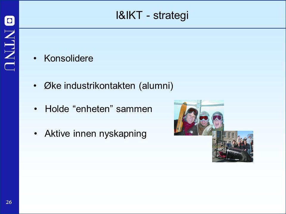 """26 Konsolidere Øke industrikontakten (alumni) I&IKT - strategi Holde """"enheten"""" sammen Aktive innen nyskapning"""
