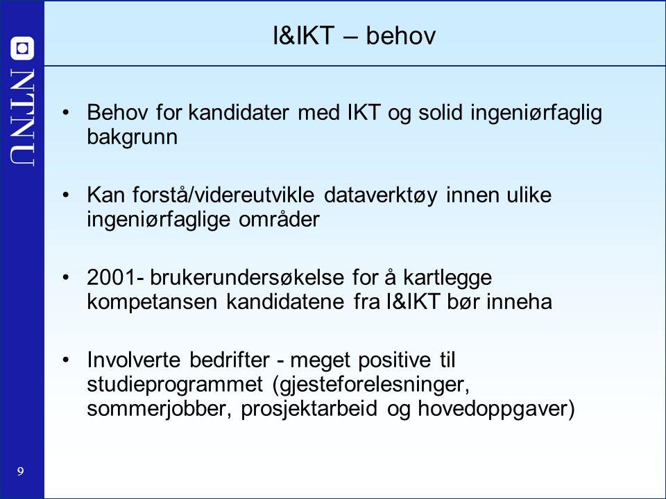 9 I&IKT – behov Behov for kandidater med IKT og solid ingeniørfaglig bakgrunn Kan forstå/videreutvikle dataverktøy innen ulike ingeniørfaglige områder