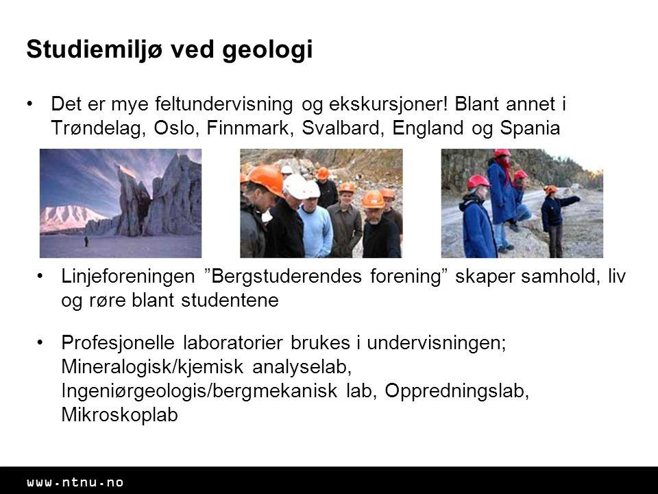 www.ntnu.no Studiemiljø ved geologi Det er mye feltundervisning og ekskursjoner! Blant annet i Trøndelag, Oslo, Finnmark, Svalbard, England og Spania