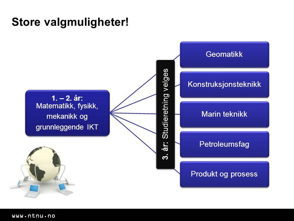 www.ntnu.no Store valgmuligheter. 1. – 2.