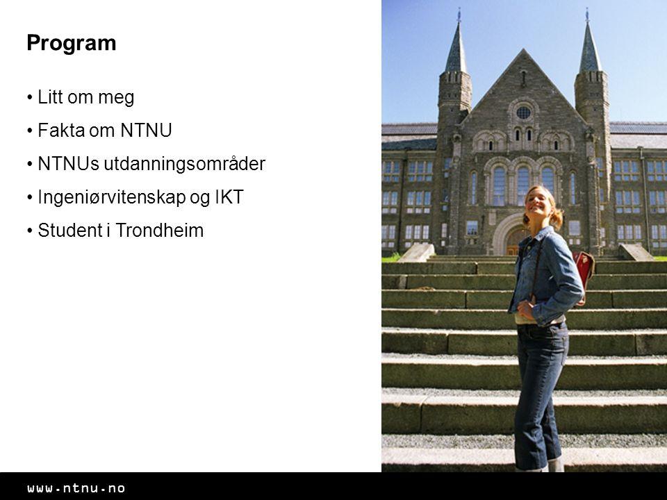 Program Litt om meg Fakta om NTNU NTNUs utdanningsområder Ingeniørvitenskap og IKT Student i Trondheim