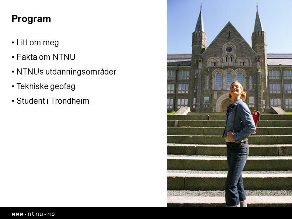 Program Litt om meg Fakta om NTNU NTNUs utdanningsområder Tekniske geofag Student i Trondheim