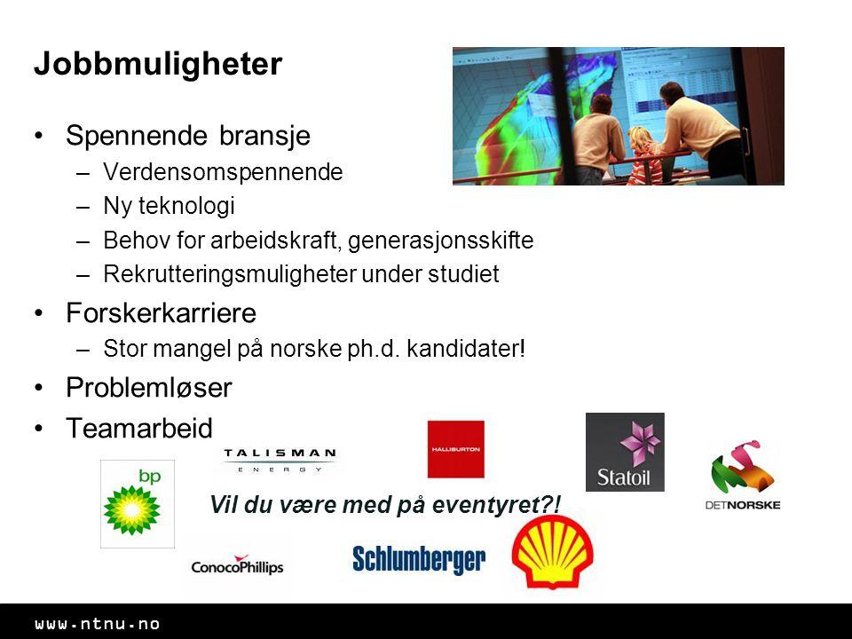 www.ntnu.no Jobbmuligheter Spennende bransje –Verdensomspennende –Ny teknologi –Behov for arbeidskraft, generasjonsskifte –Rekrutteringsmuligheter und