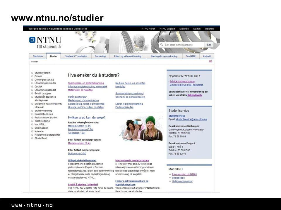 www.ntnu.no www.ntnu.no/studier