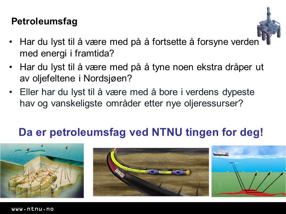 www.ntnu.no Petroleumsfag Har du lyst til å være med på å fortsette å forsyne verden med energi i framtida? Har du lyst til å være med på å tyne noen