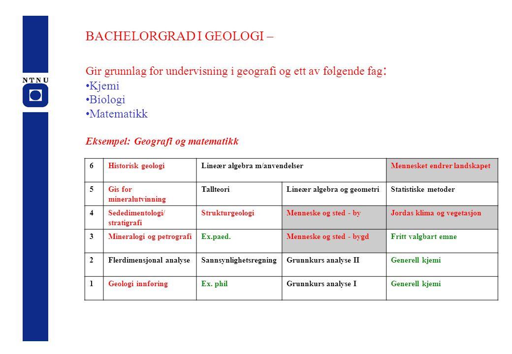 BACHELORGRAD I GEOLOGI – Gir grunnlag for undervisning i geografi og ett av følgende fag : Kjemi Biologi Matematikk Eksempel: Geografi og matematikk 6