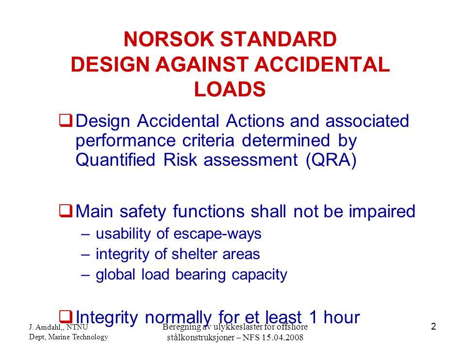 J. Amdahl,, NTNU Dept, Marine Technology Beregning av ulykkeslaster for offshore stålkonstruksjoner – NFS 15.04.2008 2  Design Accidental Actions and
