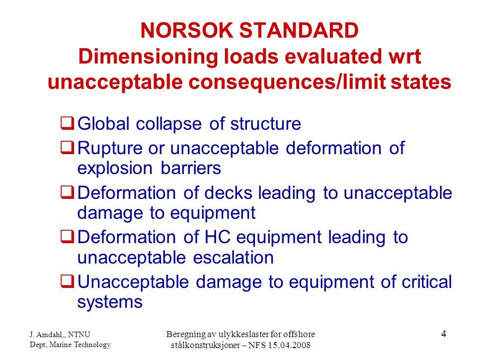 J. Amdahl,, NTNU Dept, Marine Technology Beregning av ulykkeslaster for offshore stålkonstruksjoner – NFS 15.04.2008 4  Global collapse of structure