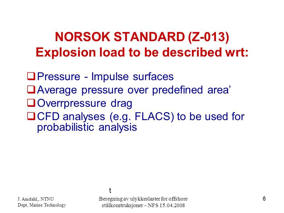 J. Amdahl,, NTNU Dept, Marine Technology Beregning av ulykkeslaster for offshore stålkonstruksjoner – NFS 15.04.2008 6  Pressure - Impulse surfaces 
