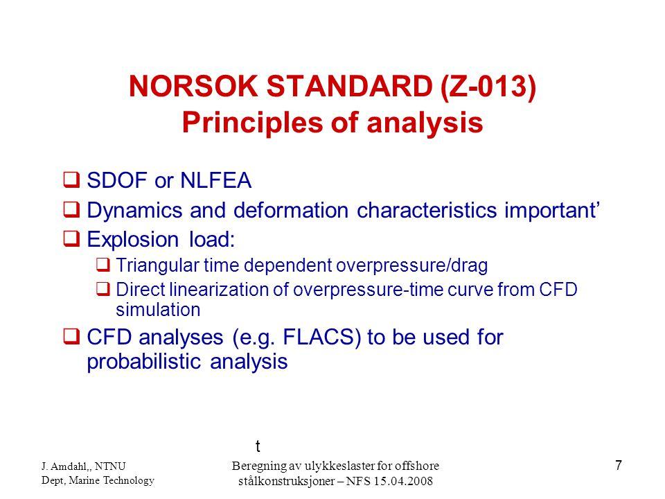 J. Amdahl,, NTNU Dept, Marine Technology Beregning av ulykkeslaster for offshore stålkonstruksjoner – NFS 15.04.2008 7  SDOF or NLFEA  Dynamics and