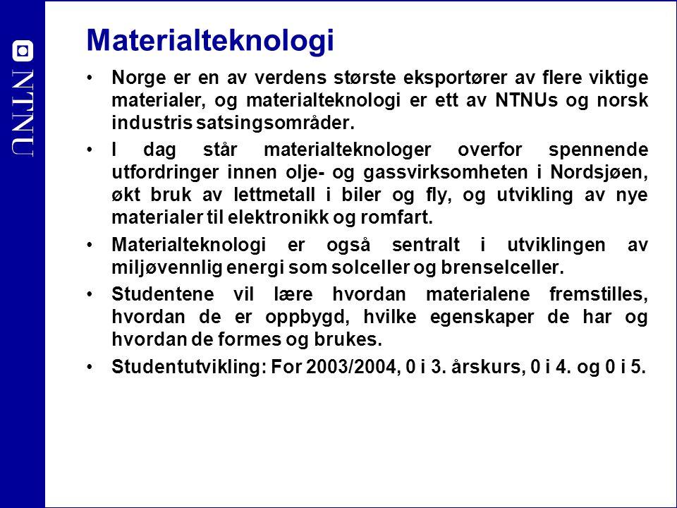 Materialteknologi Norge er en av verdens største eksportører av flere viktige materialer, og materialteknologi er ett av NTNUs og norsk industris sats