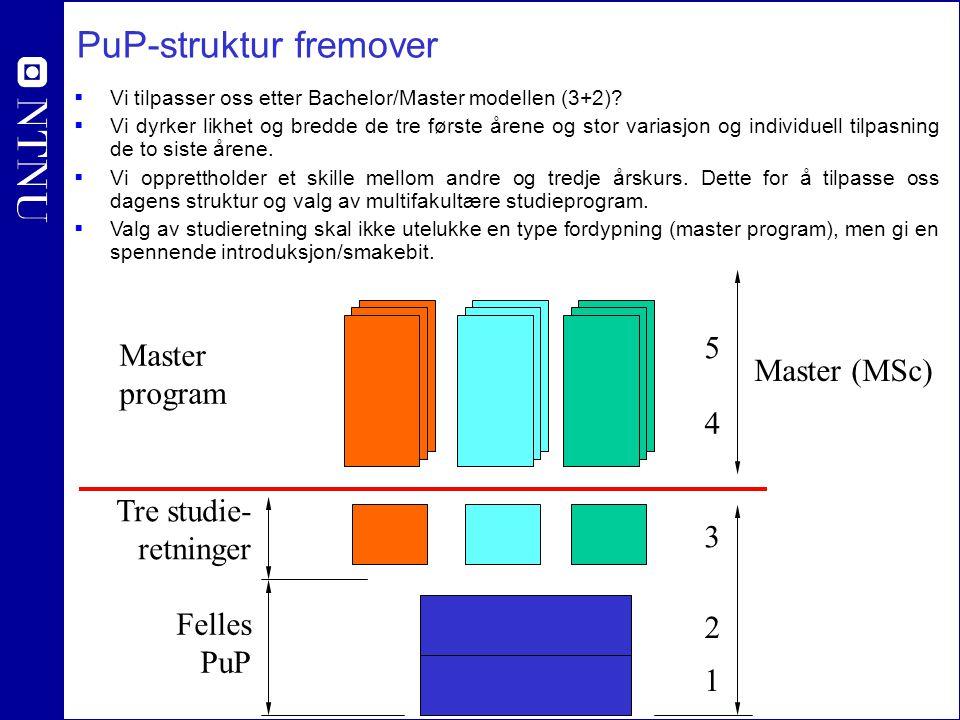 PuP-struktur fremover  Vi tilpasser oss etter Bachelor/Master modellen (3+2)?  Vi dyrker likhet og bredde de tre første årene og stor variasjon og i
