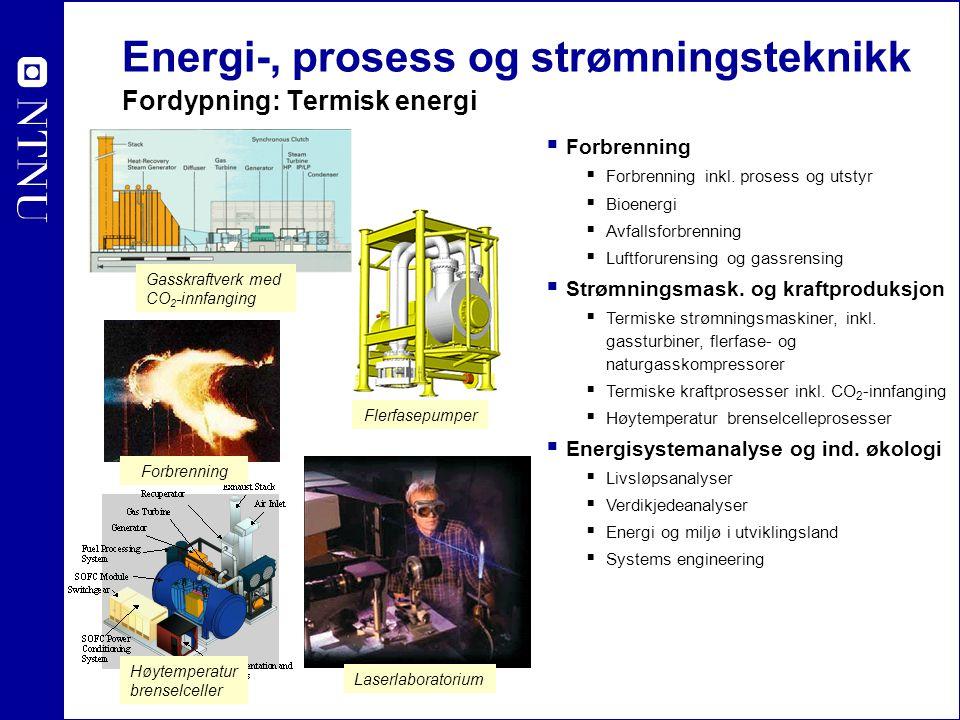 Energi-, prosess og strømningsteknikk Fordypning: Industriell prosessteknikk  Varme- og kuldeteknikk  Systemer og komponenter  Energianalyser  Prosessintegrasjon  Varmepumpende systemer  Naturgass og flerfaseteknikk  Flerfaseteknikk  Naturgassprosessering  Lavtemperatur prosessteknikk  Næringsmiddelteknologi  Avvanning og tørking  Kjøling, frysing og tining  Fluidiserte systemer Kulde- og varme- systemer i bil Offshore LNG Kjøling/frysing/avvanning i næringsmiddelindustrien Industrielle varme- og kuldetekniske komponenter og prosessintegrasjon Flerfase olje-gass i rørledninger