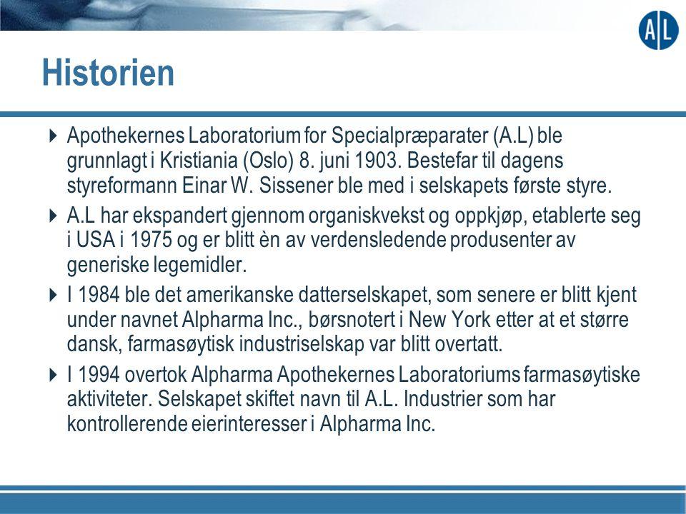 Historien  Apothekernes Laboratorium for Specialpræparater (A.L) ble grunnlagt i Kristiania (Oslo) 8. juni 1903. Bestefar til dagens styreformann Ein