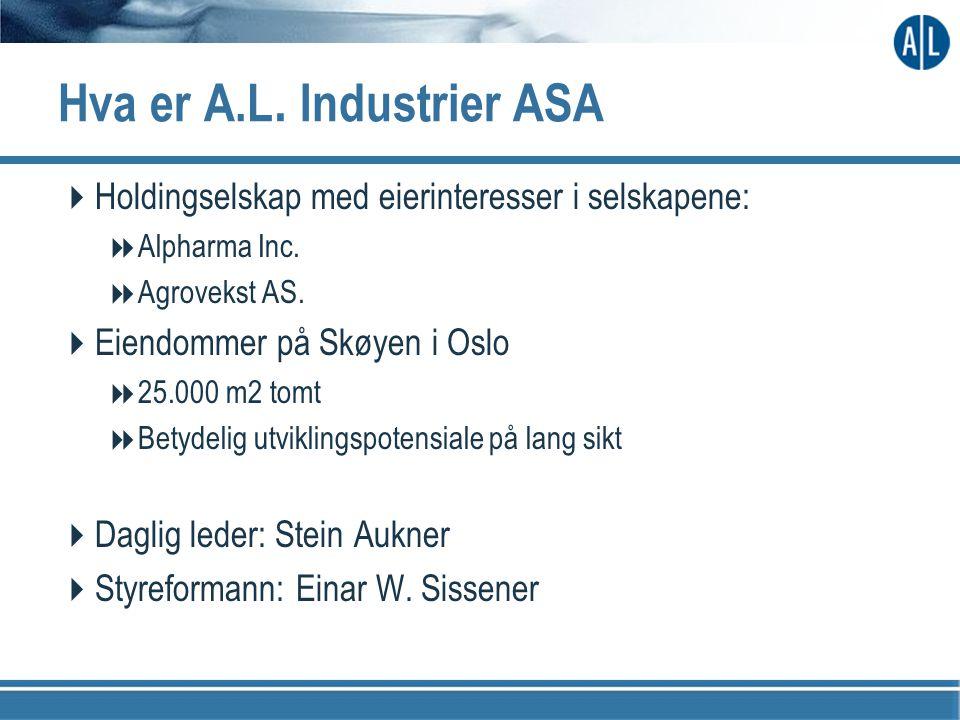 Hva er A.L. Industrier ASA  Holdingselskap med eierinteresser i selskapene:  Alpharma Inc.  Agrovekst AS.  Eiendommer på Skøyen i Oslo  25.000 m2