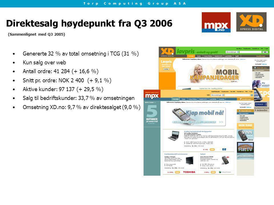 Direktesalg høydepunkt fra Q3 2006 Genererte 32 % av total omsetning i TCG (31 %) Kun salg over web Antall ordre: 41 284 (+ 16,6 %) Snitt pr. ordre: N