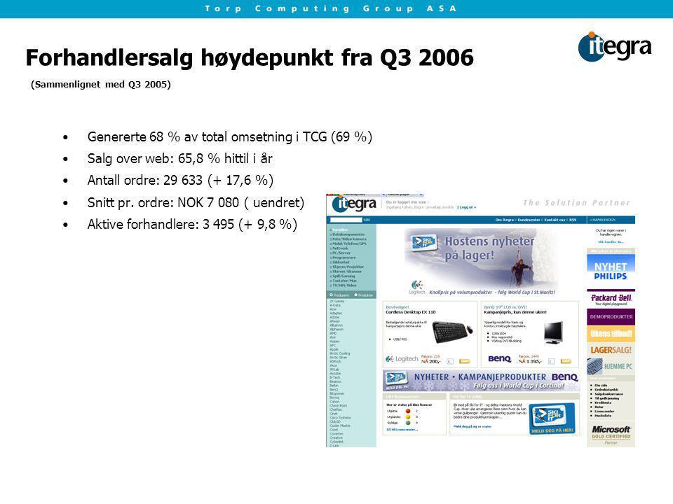 Forhandlersalg høydepunkt fra Q3 2006 Genererte 68 % av total omsetning i TCG (69 %) Salg over web: 65,8 % hittil i år Antall ordre: 29 633 (+ 17,6 %)