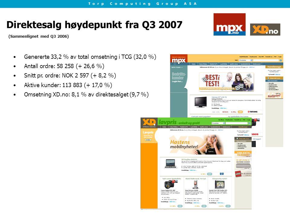 Direktesalg høydepunkt fra Q3 2007 Genererte 33,2 % av total omsetning i TCG (32,0 %) Antall ordre: 58 258 (+ 26,6 %) Snitt pr. ordre: NOK 2 597 (+ 8,