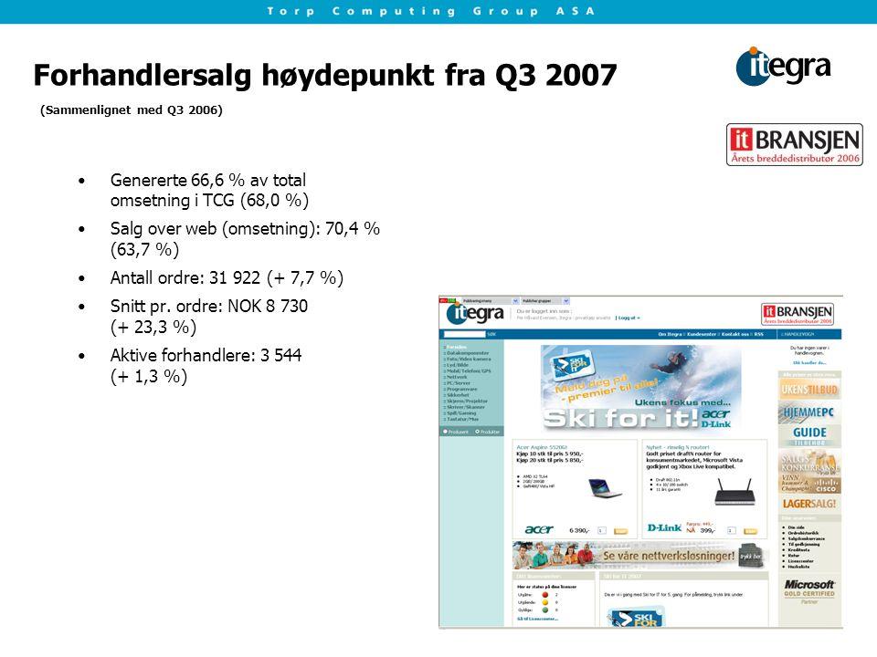 Forhandlersalg høydepunkt fra Q3 2007 Genererte 66,6 % av total omsetning i TCG (68,0 %) Salg over web (omsetning): 70,4 % (63,7 %) Antall ordre: 31 922 (+ 7,7 %) Snitt pr.