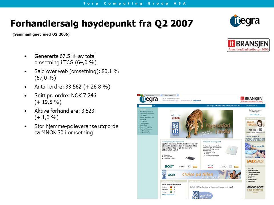 Forhandlersalg høydepunkt fra Q2 2007 Genererte 67,5 % av total omsetning i TCG (64,0 %) Salg over web (omsetning): 80,1 % (67,0 %) Antall ordre: 33 562 (+ 26,8 %) Snitt pr.