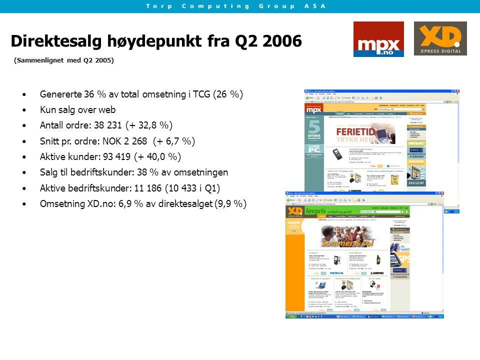 Direktesalg høydepunkt fra Q2 2006 Genererte 36 % av total omsetning i TCG (26 %) Kun salg over web Antall ordre: 38 231 (+ 32,8 %) Snitt pr. ordre: N