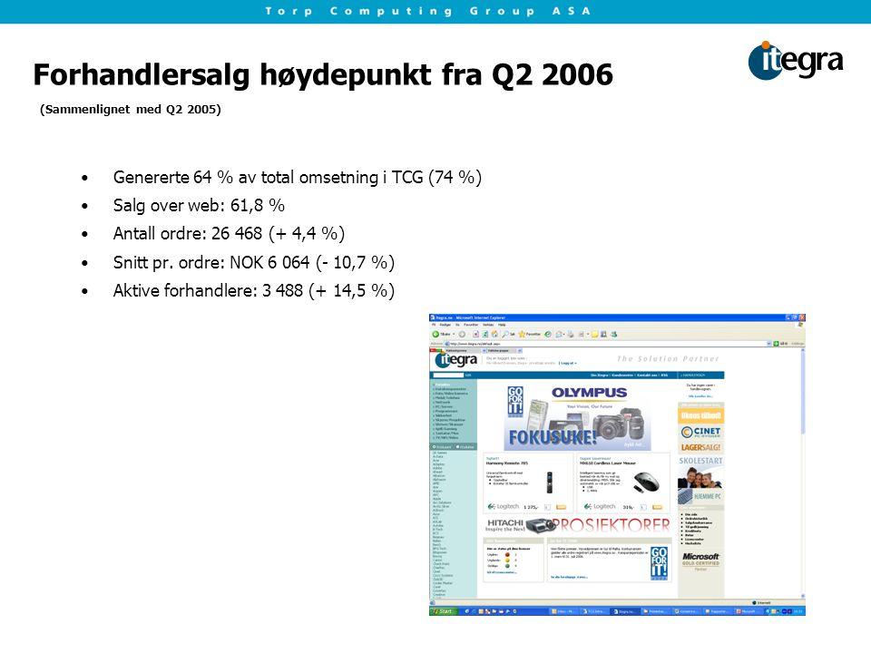 Forhandlersalg høydepunkt fra Q2 2006 Genererte 64 % av total omsetning i TCG (74 %) Salg over web: 61,8 % Antall ordre: 26 468 (+ 4,4 %) Snitt pr.