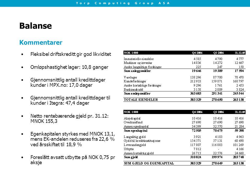 Balanse Fleksibel driftskreditt gir god likviditet Omløpshastighet lager: 10,8 ganger Gjennomsnittlig antall kredittdager kunder i MPX.no: 17,0 dager Gjennomsnittlig antall kredittdager til kunder i Itegra: 47,4 dager Netto rentebærende gjeld pr.