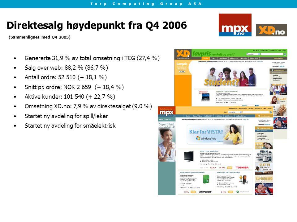 Direktesalg høydepunkt fra Q4 2006 Genererte 31,9 % av total omsetning i TCG (27,4 %) Salg over web: 88,2 % (86,7 %) Antall ordre: 52 510 (+ 18,1 %) Snitt pr.
