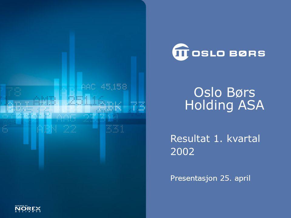Oslo Børs Holding ASA Resultat 1. kvartal 2002 Presentasjon 25. april