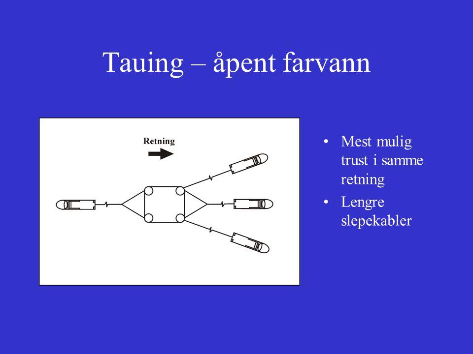 Tauing – trange farvann Flere slepefartøy (økt manøvrerbarhet) Korte slepekabler