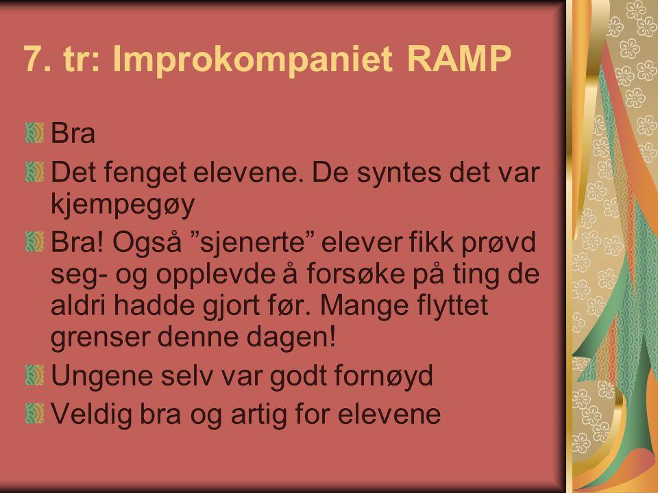"""7. tr: Improkompaniet RAMP Bra Det fenget elevene. De syntes det var kjempegøy Bra! Også """"sjenerte"""" elever fikk prøvd seg- og opplevde å forsøke på ti"""