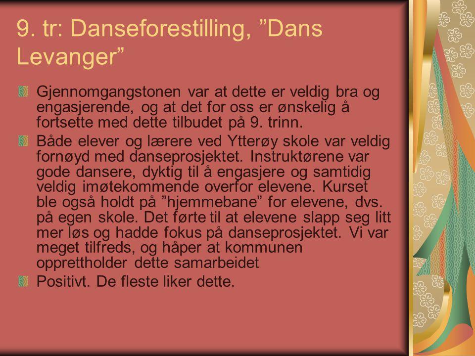"""9. tr: Danseforestilling, """"Dans Levanger"""" Gjennomgangstonen var at dette er veldig bra og engasjerende, og at det for oss er ønskelig å fortsette med"""