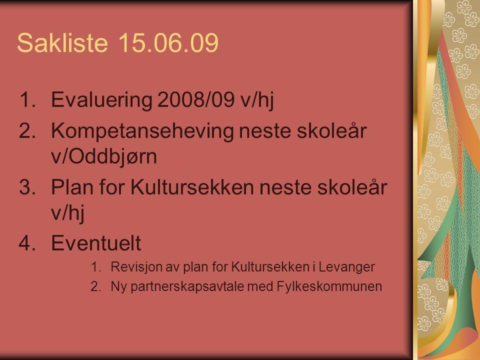 Sakliste 15.06.09 1.Evaluering 2008/09 v/hj 2.Kompetanseheving neste skoleår v/Oddbjørn 3.Plan for Kultursekken neste skoleår v/hj 4.Eventuelt 1.Revis