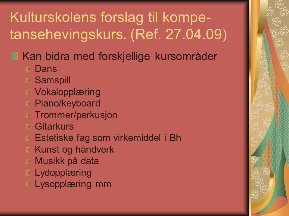 Kulturskolens forslag til kompe- tansehevingskurs. (Ref. 27.04.09) Kan bidra med forskjellige kursområder Dans Samspill Vokalopplæring Piano/keyboard